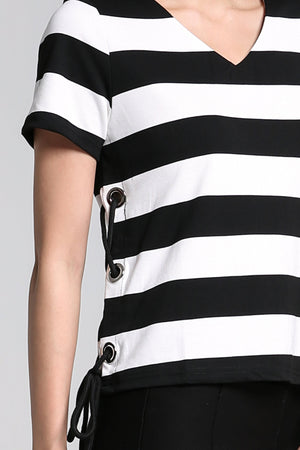 V-Neck Stripe Top 2213 - ample-couture