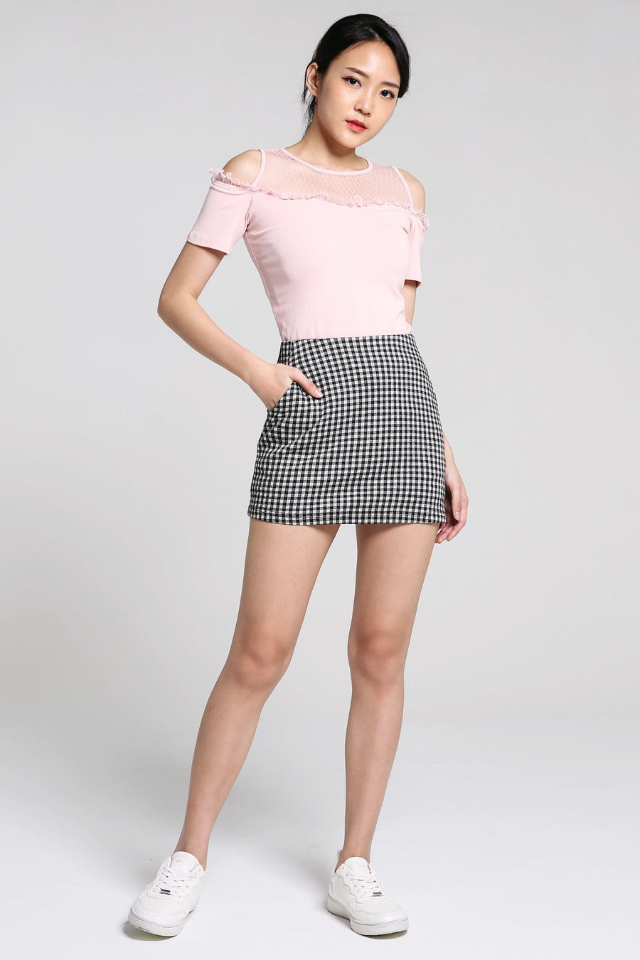 Checker Short Skirt Pants 2246 - ample-couture