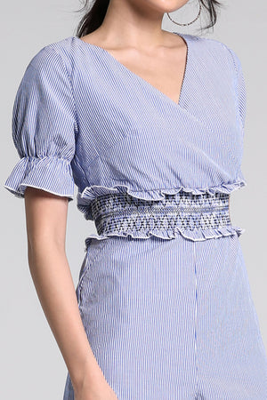 V-Neck Stripe Plain Playsuit 2237 - ample-couture