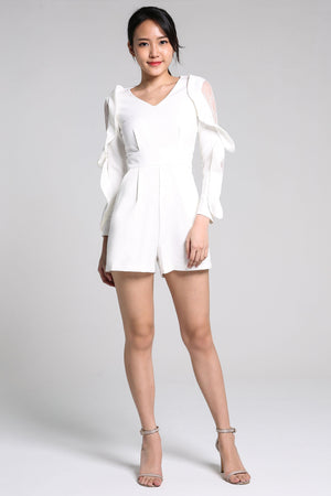 Frill Sleeves Playsuit 2251 - ample-couture