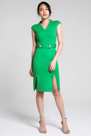 2 Button Belt Pencil Dress 2253