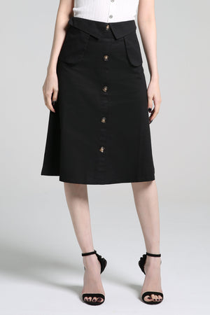 Midi Button Skirt 2270 - ample-couture