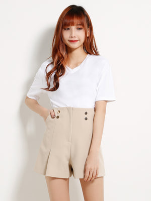 Fake Button High Waisted Short Pants 13246
