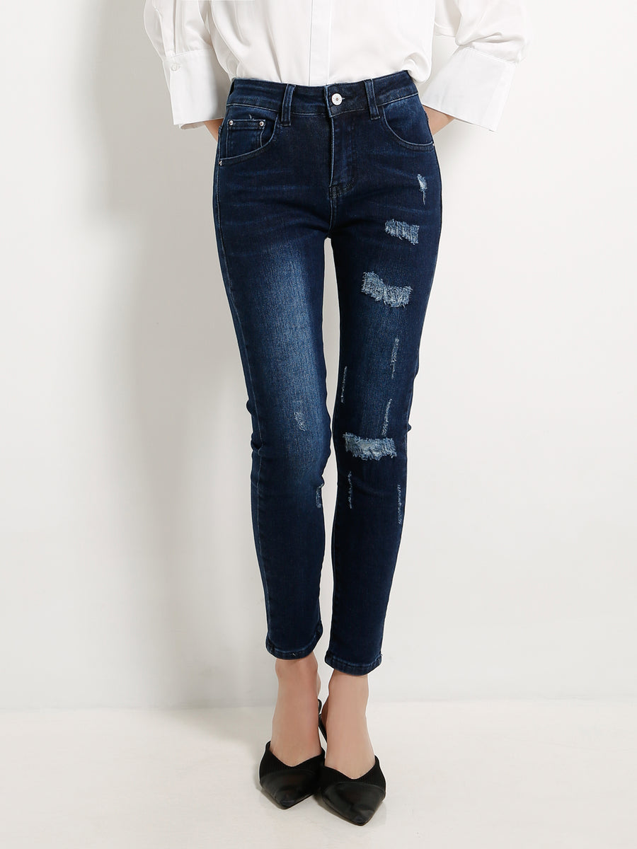 Ripped Denim Long Pants 13245