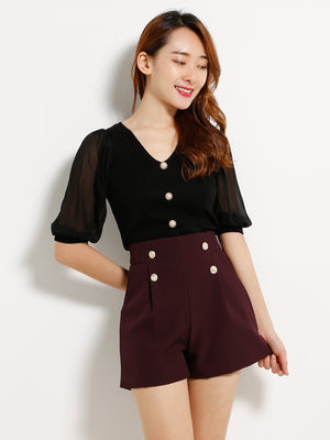 Fake Button Short Pants 13214