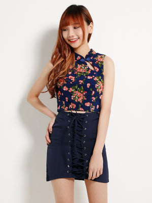 Flower Top With Tie Up Skirt Set 13261