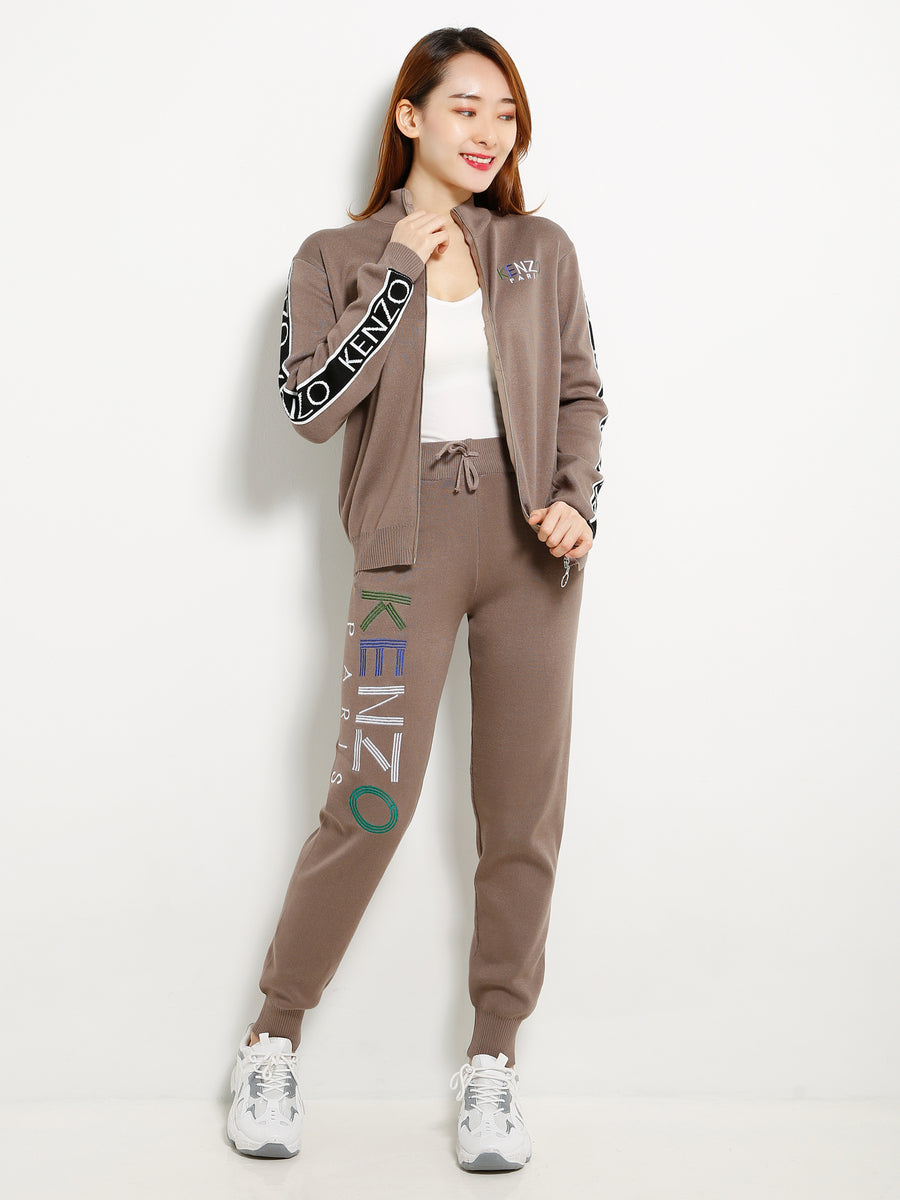 Turtleneck Knit Jacket With Knit Long Pants Set 13229