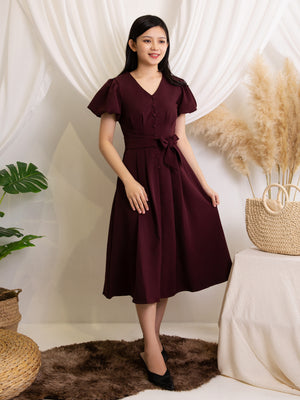 Puff Sleeve Dress With Belt 11374