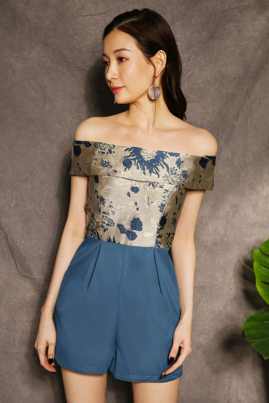Jacquard Off Shoulder Playsuit 2365 - ample-couture