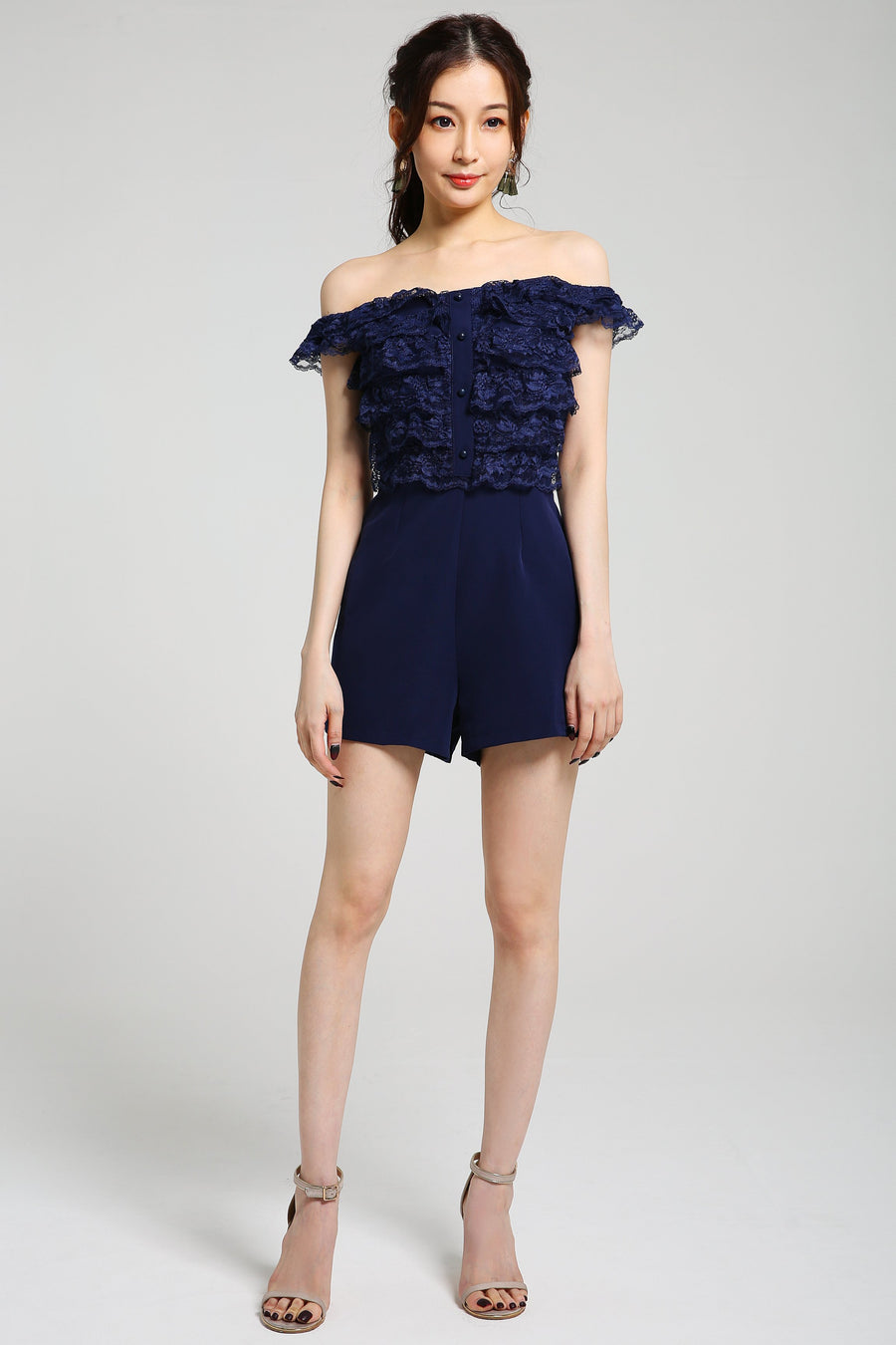 Off Shoulder Playsuit 2371 - ample-couture