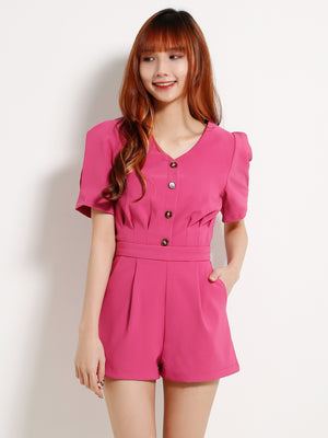 Front Button Top With Short Pants Set 13228