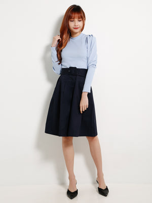 Waist Belt Wide Leg Long Pants 13302