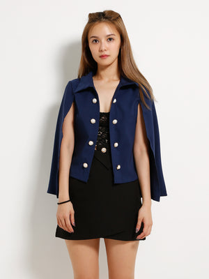 Front Button Cape Blazer 13264