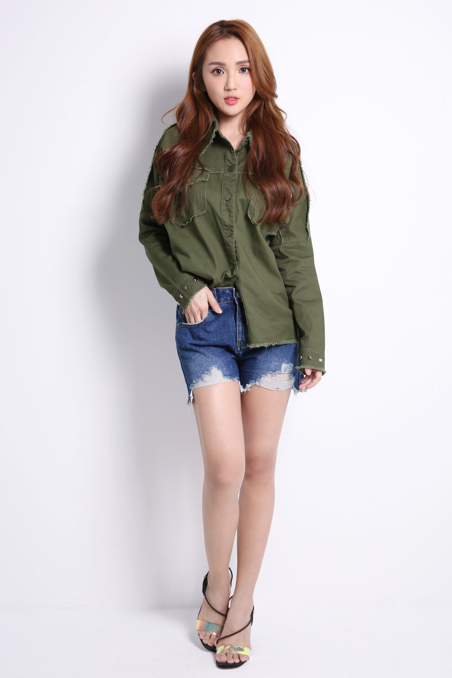 Metal Button Denim Jacket 9493