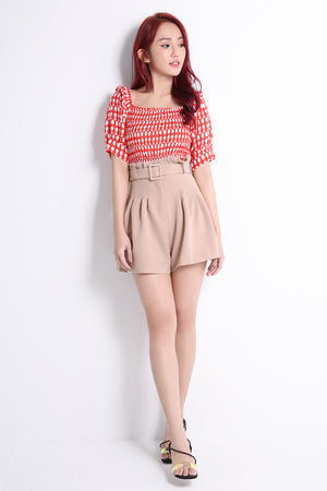 Puff Sleeve Top With Short Pants Set 10780