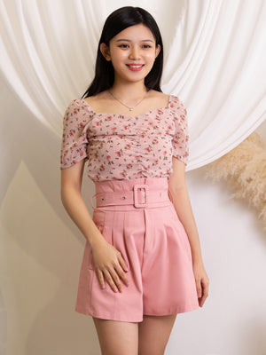 Floral Top With Short Pants Sets 11391