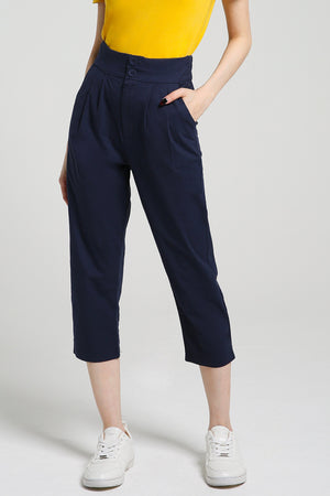 Plain Long Pants 2412 Dark Blue / S Bottoms