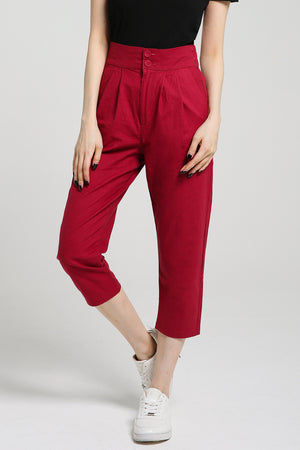 Plain Long Pants 2412 Pink / S Bottoms