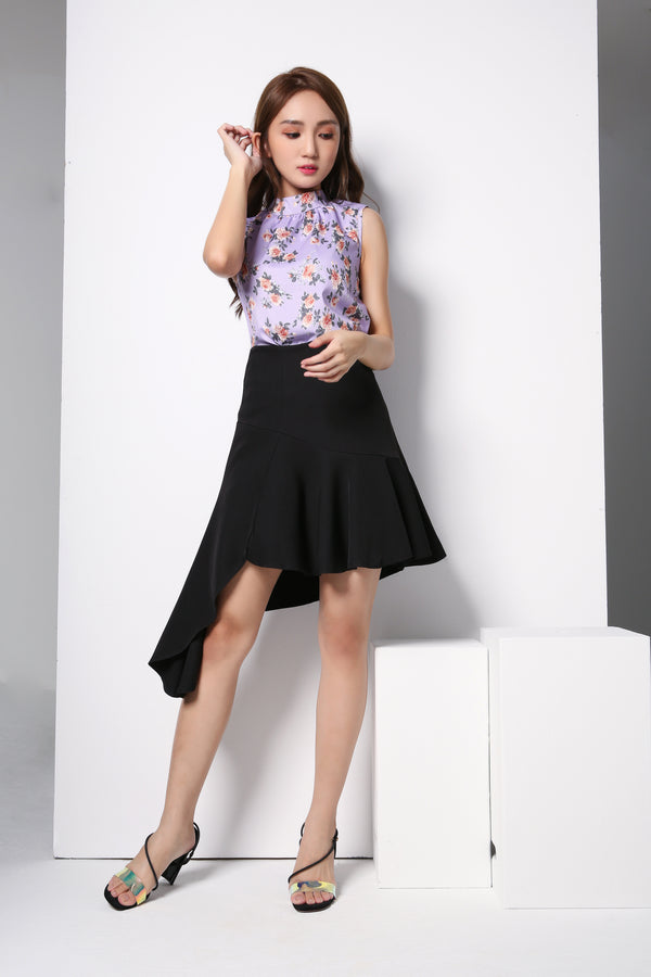Rose Top With Plain Skirt 8708