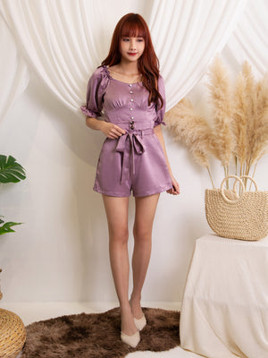 Puff Sleeve Top With Short Pants Set 11490