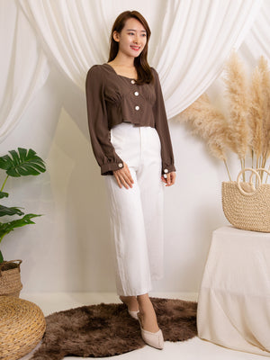 Front Button Square Neck Top 11428