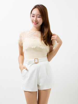 Inner Strap Top With Lace Top Set