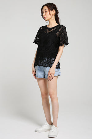 Lace Blouse with Camisole Set 2562