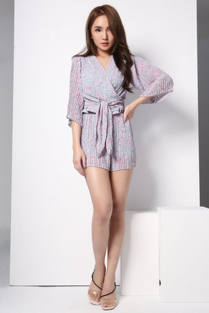 Flower Printed Top And Short Pants Set 8752