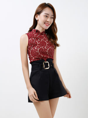 Lace Cheongsam Top With Short Pants Set 12200 (Backorder)