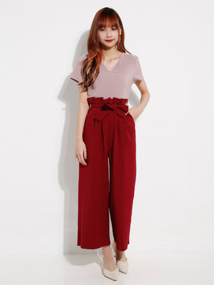 V Neck Dual Tone Jumpsuit 12755