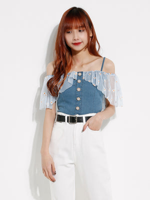 Daisy Denim Strap Top 12696