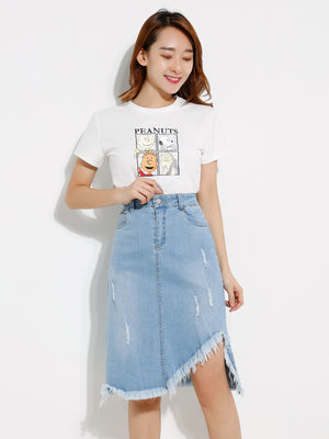 Asymmetric Denim Skirt 12777