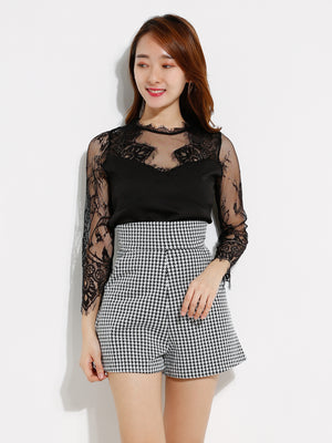 Transparent Top With Houndstooth Short Pants Set 12807