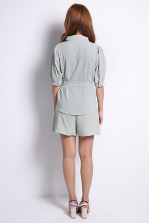 Front Button Shirt With Short Pants Set 10211