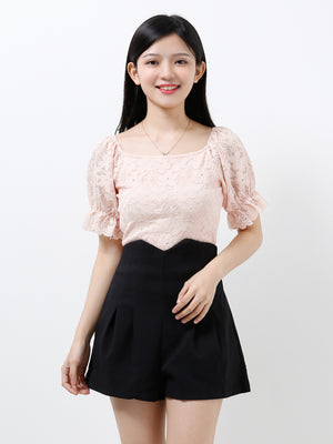 Puff Sleeve Lace Top 12278