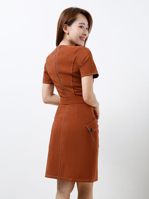 Square Neck Top With Skirt Set 12196