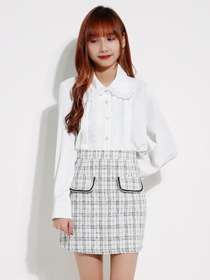 Front Pocket Checker Wool Skirt 12863