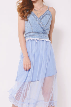 Denim Splice Sheer Mesh Dress 4302 - ample-couture