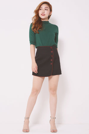 Contrast Trim Buttoned Skirt Pants 4293 - ample-couture