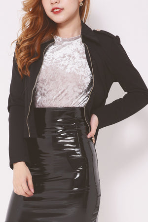 Mutton Sleeve Collared Jacket 4357 - ample-couture
