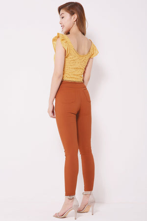 Eyelet Skinny Pants 4303 - ample-couture
