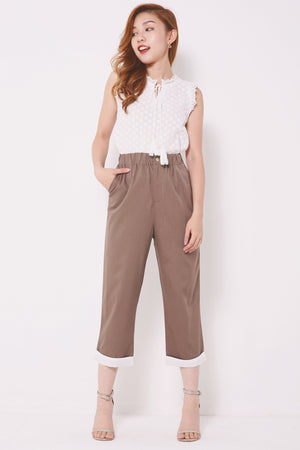 Rolled Hem Straight Pants 4371 - ample-couture