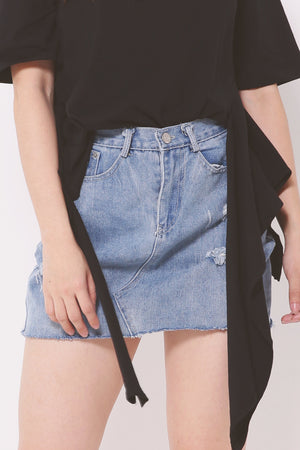 Ripped Jeans Skirt 4380 - ample-couture
