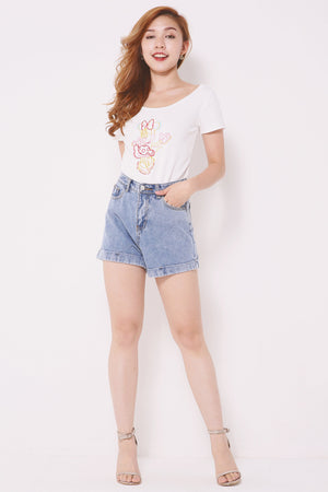 Denim Rolled Hem Shorts 4379 - ample-couture