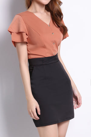 Front Button Top With Skirt Set 10243