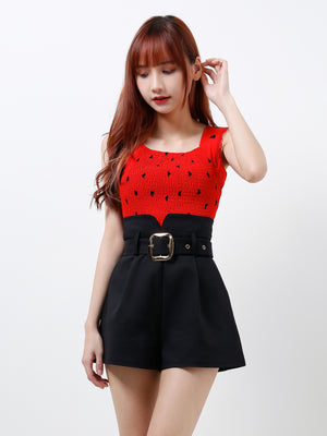 Black Heart Strap Top 12266