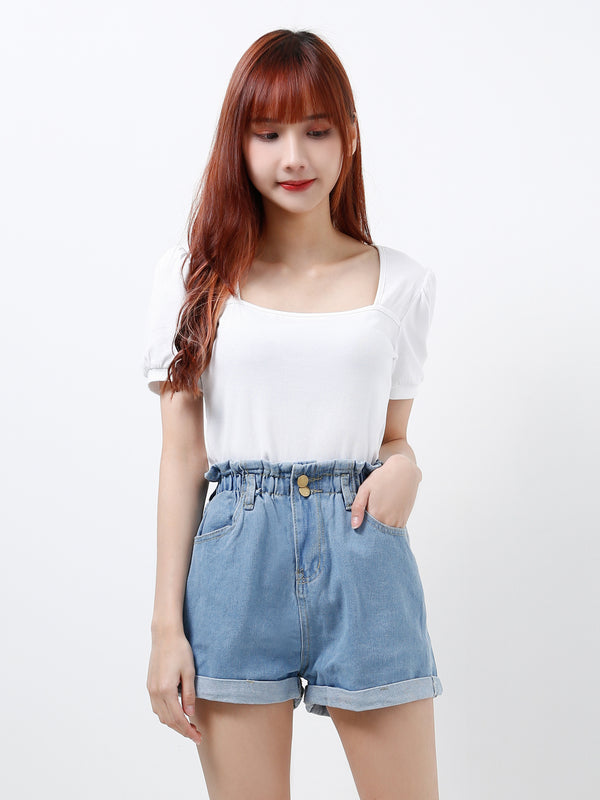 Elastic Denim Short Pants 12179A