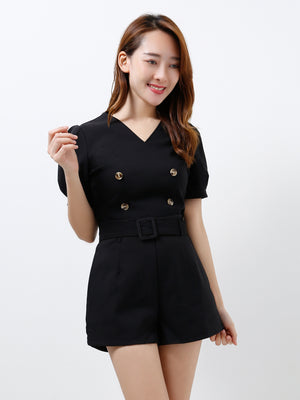V Neck Top With Short Pants Set 12294