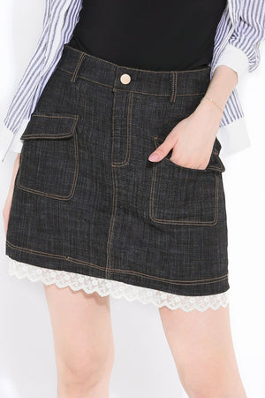 Denim Skirt Pants 2813 - ample-couture