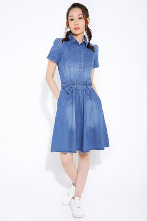 Denim Belted Dress 2850 - ample-couture